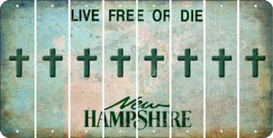 New Hampshire CROSS Cut License Plate Strips (Set of 8) LPS-NH1-083