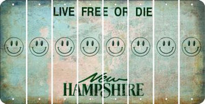 New Hampshire SMILEY FACE Cut License Plate Strips (Set of 8) LPS-NH1-089