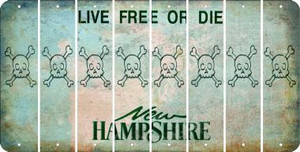New Hampshire SKULL Cut License Plate Strips (Set of 8) LPS-NH1-092