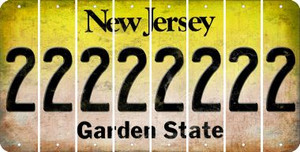 New Jersey 2 Cut License Plate Strips (Set of 8) LPS-NJ1-029
