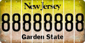 New Jersey 8 Cut License Plate Strips (Set of 8) LPS-NJ1-035