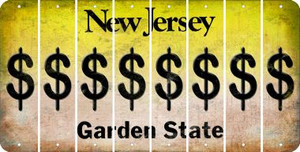 New Jersey DOLLAR SIGN Cut License Plate Strips (Set of 8) LPS-NJ1-040