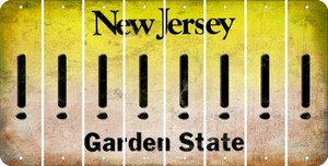 New Jersey EXCLAMATION POINT Cut License Plate Strips (Set of 8) LPS-NJ1-041