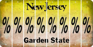 New Jersey PERCENT SIGN Cut License Plate Strips (Set of 8) LPS-NJ1-046