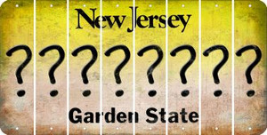 New Jersey QUESTION MARK Cut License Plate Strips (Set of 8) LPS-NJ1-047