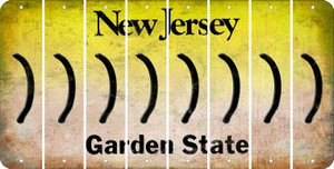 New Jersey RIGHT PARENTHESIS Cut License Plate Strips (Set of 8) LPS-NJ1-048
