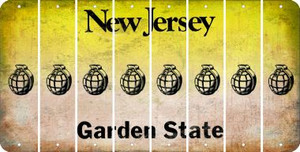 New Jersey HAND GRENADE Cut License Plate Strips (Set of 8) LPS-NJ1-050
