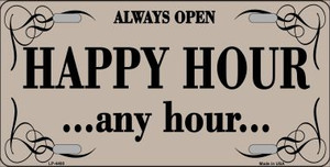 Happy Hour Any Hour Wholesale Metal Novelty License Plate LP-4460