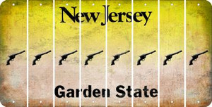 New Jersey PISTOL Cut License Plate Strips (Set of 8) LPS-NJ1-053