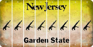 New Jersey SUBMACHINE GUN Cut License Plate Strips (Set of 8) LPS-NJ1-055