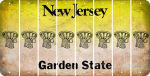 New Jersey BASKETBALL HOOP Cut License Plate Strips (Set of 8) LPS-NJ1-058