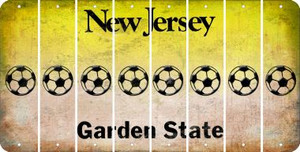 New Jersey SOCCERBALL Cut License Plate Strips (Set of 8) LPS-NJ1-061