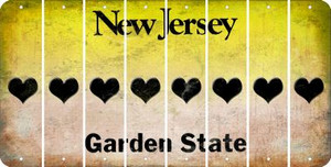 New Jersey HEART Cut License Plate Strips (Set of 8) LPS-NJ1-081