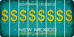 New Mexico DOLLAR SIGN Cut License Plate Strips (Set of 8) LPS-NM1-040