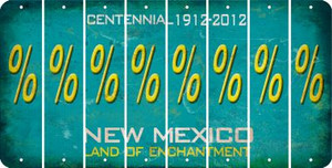 New Mexico PERCENT SIGN Cut License Plate Strips (Set of 8) LPS-NM1-046