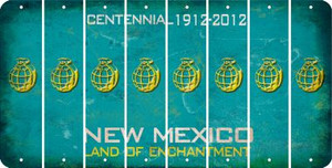 New Mexico HAND GRENADE Cut License Plate Strips (Set of 8) LPS-NM1-050