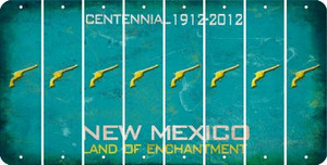 New Mexico PISTOL Cut License Plate Strips (Set of 8) LPS-NM1-053