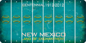 New Mexico BASEBALL / SOFTBALL Cut License Plate Strips (Set of 8) LPS-NM1-063