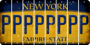 New York P Cut License Plate Strips (Set of 8) LPS-NY1-016