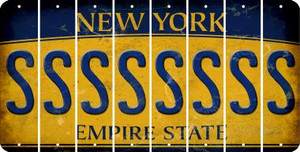 New York S Cut License Plate Strips (Set of 8) LPS-NY1-019