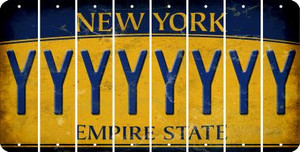 New York Y Cut License Plate Strips (Set of 8) LPS-NY1-025