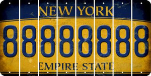 New York 8 Cut License Plate Strips (Set of 8) LPS-NY1-035