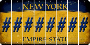 New York HASHTAG Cut License Plate Strips (Set of 8) LPS-NY1-043