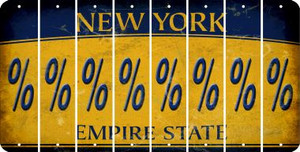 New York PERCENT SIGN Cut License Plate Strips (Set of 8) LPS-NY1-046