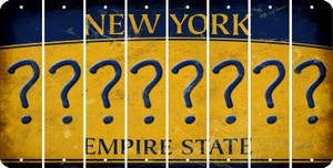 New York QUESTION MARK Cut License Plate Strips (Set of 8) LPS-NY1-047
