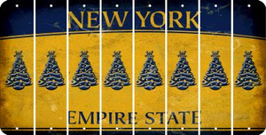New York CHRISTMAS TREE Cut License Plate Strips (Set of 8) LPS-NY1-077