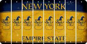 New York SNOWMAN Cut License Plate Strips (Set of 8) LPS-NY1-079
