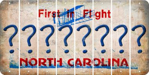 North Carolina QUESTION MARK Cut License Plate Strips (Set of 8) LPS-NC1-047