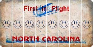 North Carolina SMILEY FACE Cut License Plate Strips (Set of 8) LPS-NC1-089