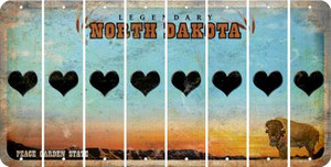 North Dakota HEART Cut License Plate Strips (Set of 8) LPS-ND1-081