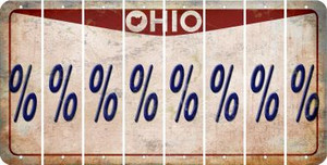 Ohio PERCENT SIGN Cut License Plate Strips (Set of 8) LPS-OH1-046