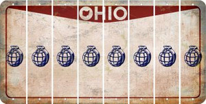 Ohio HAND GRENADE Cut License Plate Strips (Set of 8) LPS-OH1-050