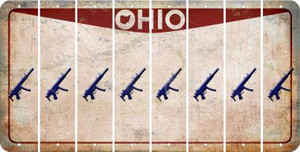 Ohio SUBMACHINE GUN Cut License Plate Strips (Set of 8) LPS-OH1-055