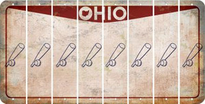 Ohio BASEBALL WITH BAT Cut License Plate Strips (Set of 8) LPS-OH1-057