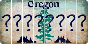 Oregon QUESTION MARK Cut License Plate Strips (Set of 8) LPS-OR1-047