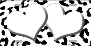 White Black Cheetah White Center Hearts Wholesale Metal Novelty License Plate LP-4529