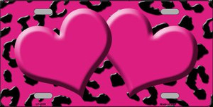 Pink Black Cheetah With Pink Center Hearts Wholesale Metal Novelty License Plate LP-4530