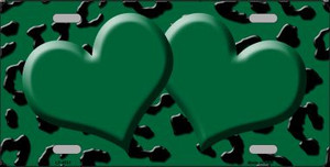Green Black Cheetah With Green Center Hearts Wholesale Metal Novelty License Plate LP-4531
