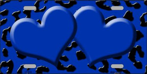 Blue Black Cheetah With Blue Center Hearts Wholesale Metal Novelty License Plate LP-4532