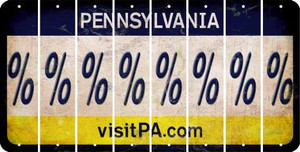 Pennsylvania PERCENT SIGN Cut License Plate Strips (Set of 8) LPS-PA1-046