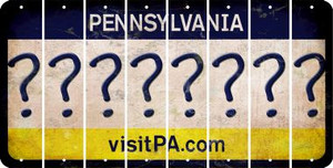 Pennsylvania QUESTION MARK Cut License Plate Strips (Set of 8) LPS-PA1-047