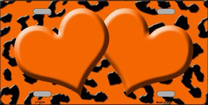 Orange Black Cheetah With Orange Center Hearts Wholesale Metal Novelty License Plate LP-4534