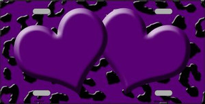 Purple Black Cheetah With Purple Center Hearts Wholesale Metal Novelty License Plate LP-4537