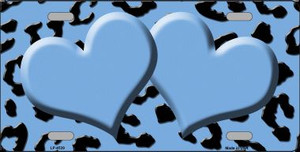 Light Blue Black Cheetah With Light Blue Center Hearts Wholesale Metal Novelty License Plate LP-4539