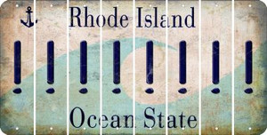 Rhode Island EXCLAMATION POINT Cut License Plate Strips (Set of 8) LPS-RI1-041