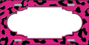 Pink Black Cheetah Print With Scallop Wholesale Metal Novelty License Plate LP-4545
